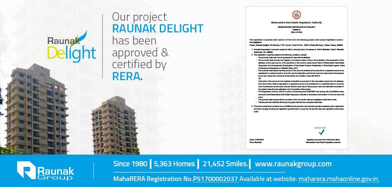 Raunak Delight is now Maha RERA compliant
