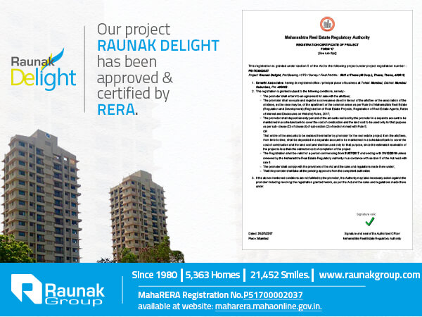 Raunak Delight is now Maha RERA compliant
