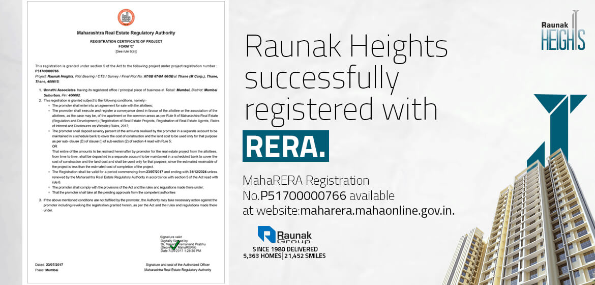 Raunak Heights successfully registered with RERA