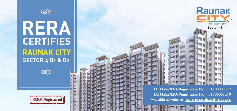 RERA certifies Raunak City - Sector 4 - D1 & D2