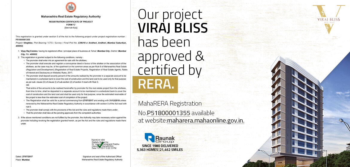 Viraj Bliss by Raunak Group now RERA certificated.